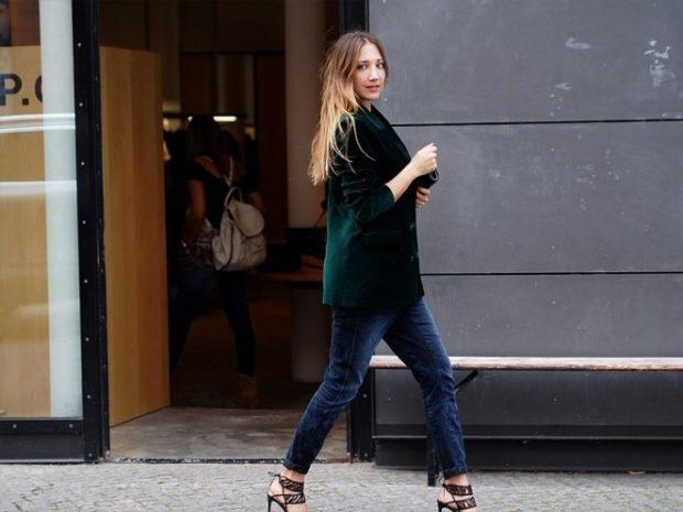 Модные пиджаки осень зима 2020: бархатный зеленый рукав 3/4