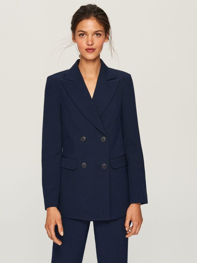 Модные пиджаки осень зима 2018 2019: пиджак двубортный синий классика