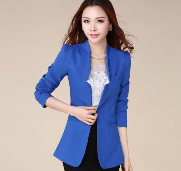Модные пиджаки осень зима 2018 2019: пиджак удлиненный голубой