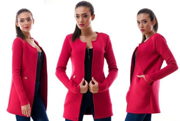 Модные пиджаки осень зима 2018 2019: пиджак удлиненный малиновый