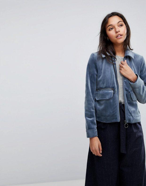 Модные пиджаки осень зима: из денима короткий