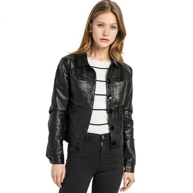 модные пиджаки осень зима 2018 2018: кожаный жакет черный короткий