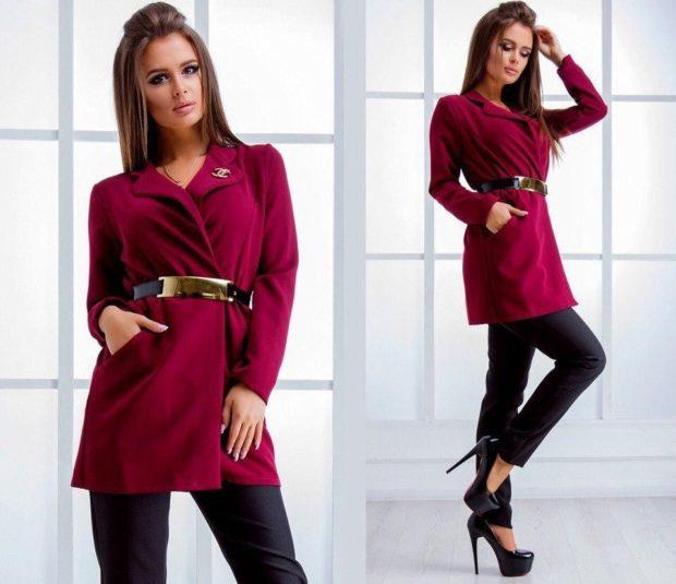 модные пиджаки осень зима 2018 2018: пиджак под пояс бордовый