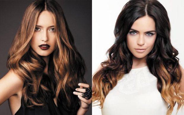 модный цвет волос 2020-2021: каштановый темный с омбре