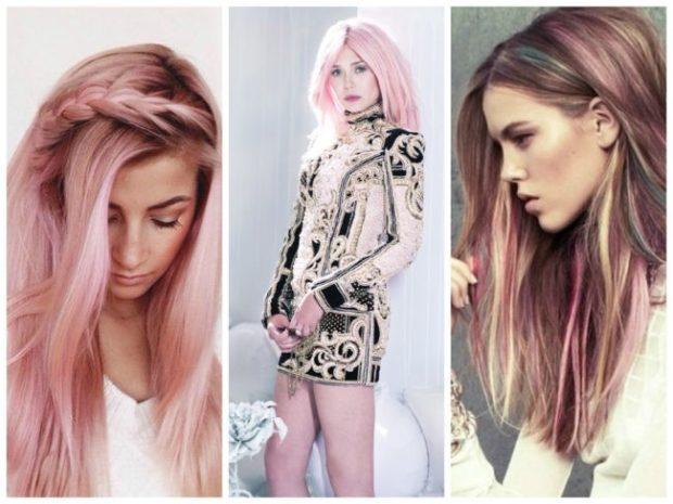 модный цвет волос 2018: розовый оттенок блонда