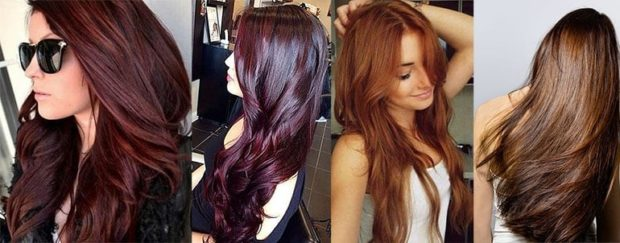 модный цвет волос 2018: бордовый цвет светло рыжий каштан натуральный