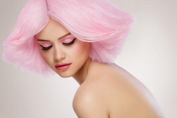 Модный цвет волос 2018: розовый волос нежный