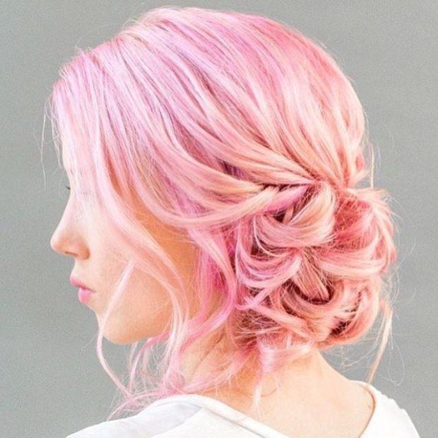 Модный цвет волос 2018: розовый волос с оранжевым оттеноком