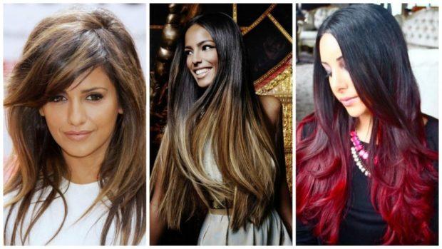 модный цвет волос 2018: миллирование омбре светлое бордовое