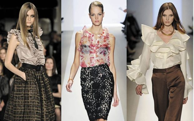 Модные блузки 2018-2019: коричневая без рукава в принт белая с воланами
