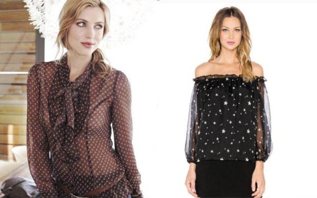 модные блузки 2018-2019: прозрачная в горох черная в звезды
