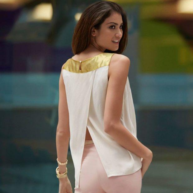 модные блузки 2018-2019: шифоновая разрез сзади