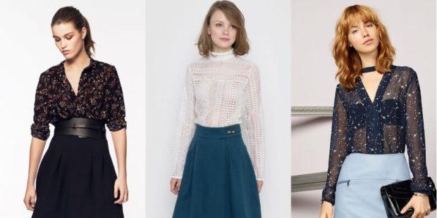 блузки 2021: черная блузка в цвета белая прозрачная синяя