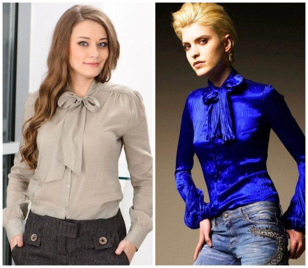 модные блузки 2018-2019: серая с бантом синяя