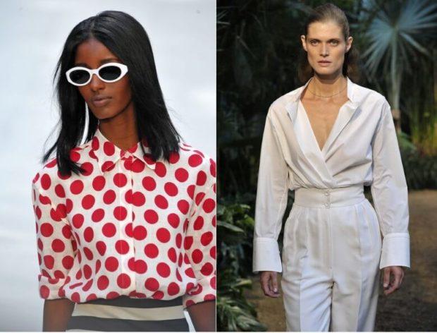 модные блузки 2018-2019: в горох белая с рукавом