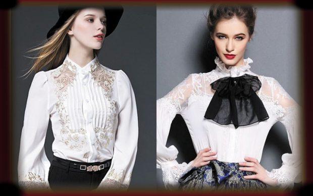 Модные блузки 2018: белая с кружевом с черным бантом