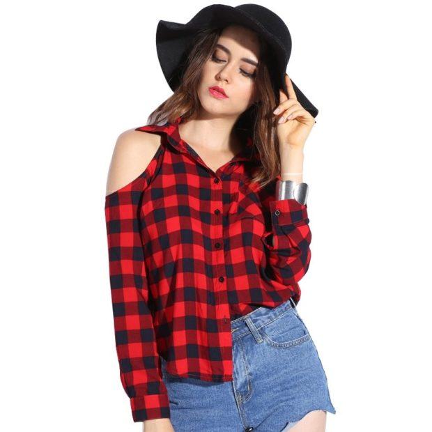 Модные блузки: в клетку красная с черным открытые плечи