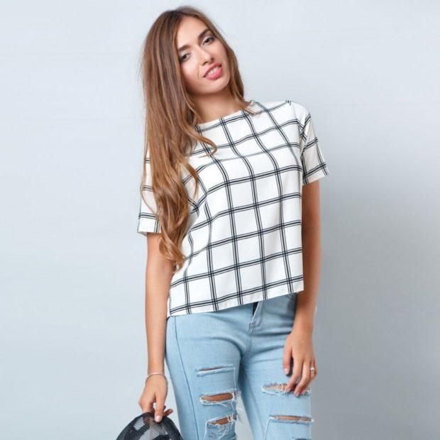 Модные блузки: в клетку большую бела с черным