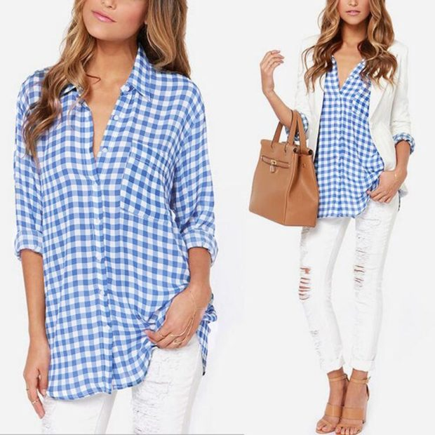 Модные блузки: в клетку голубую удлиненную