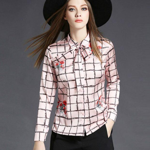 модные блузки: в клетку розовая с черным в цветы с бантом