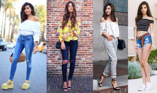 модные блузки: с открытыми плечами белая желая черная в полоску