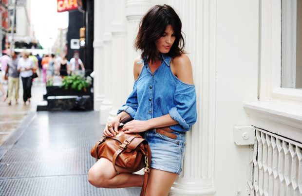 модные блузки: с открытыми плечами джинсовая