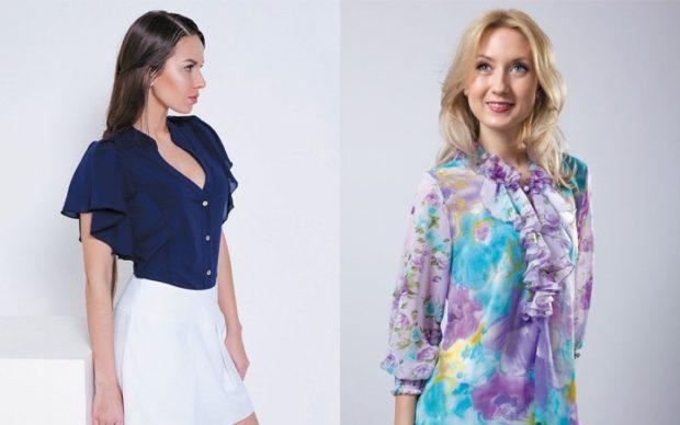 блузки 2020 года: синяя блузка рукав воланы цветная