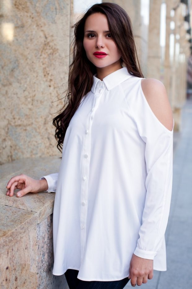 модные блузки: с открытыми плечами белая длинная