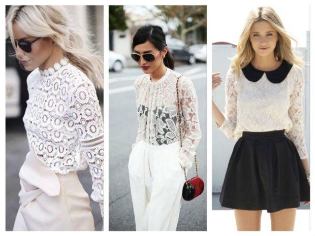 модные блузки: кружевные белые с рукавами воротничком