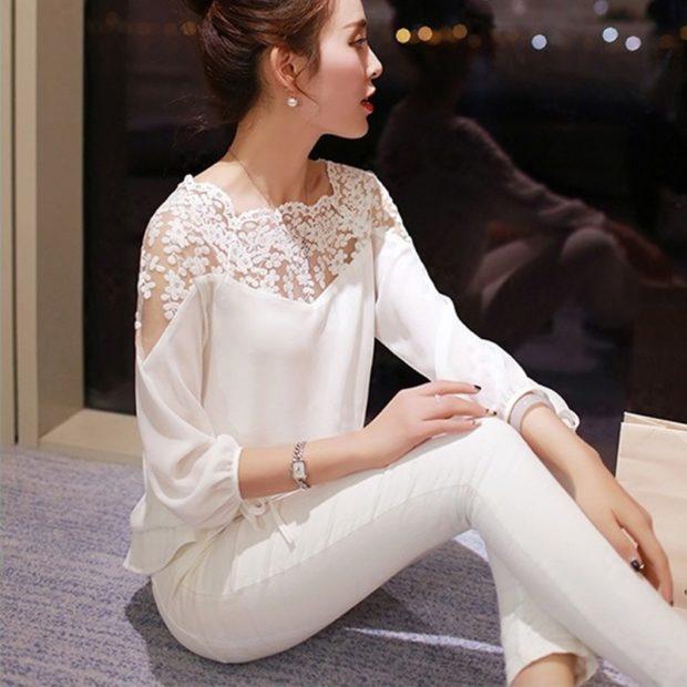 модные блузки: кружевные белая