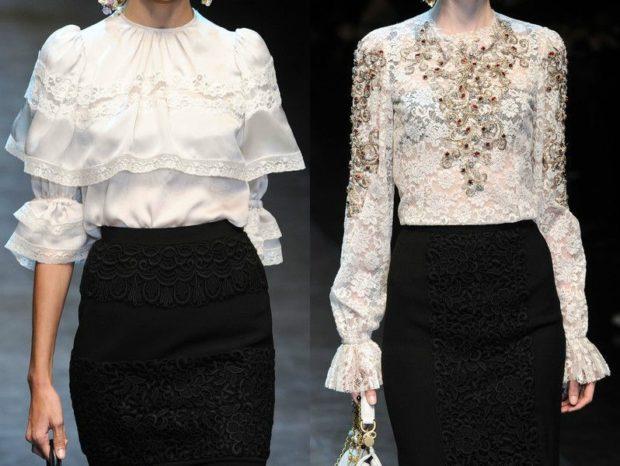 модные блузки: кружевные белые с воланами с камнями