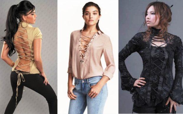 Модные блузки 2018-2019: желтая светлая черная со шнуровками