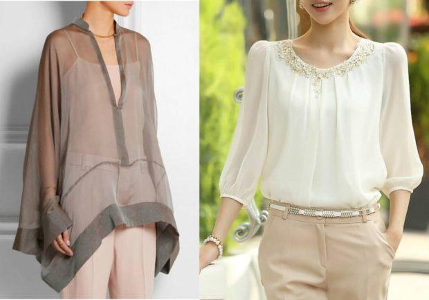 блуза шифоновое коричневая белая свободные
