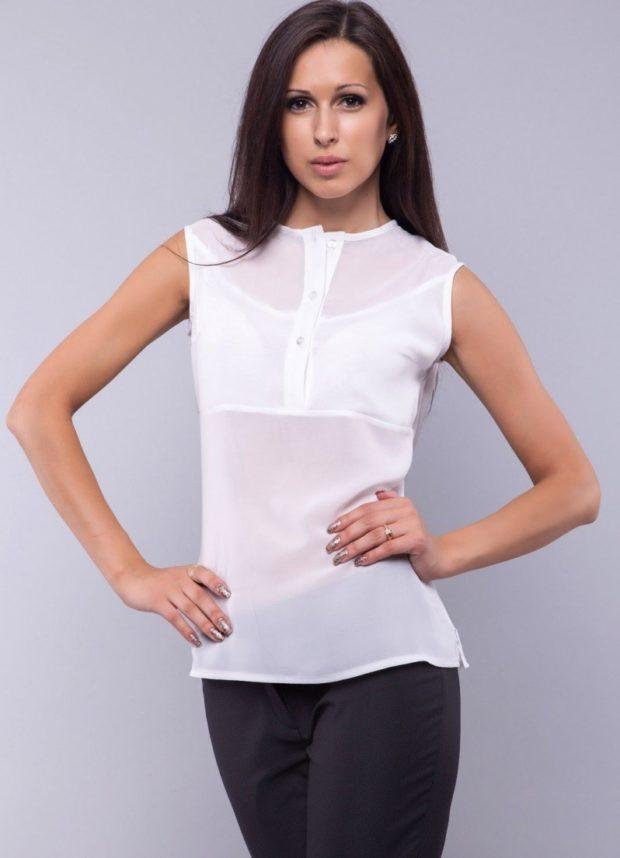 блуза шифоновая без рукава белая