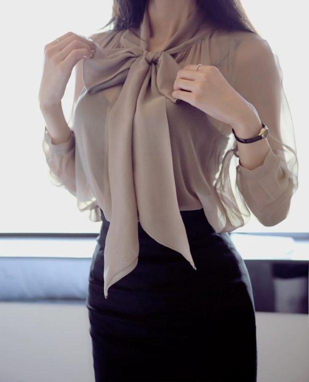 блуза шифоновая с бантом бежевая