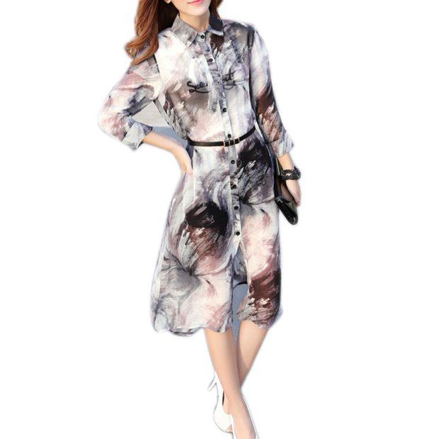 блузки: удлиненная в принт светлая
