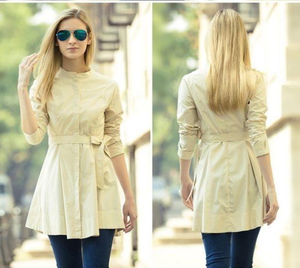 блузки: удлиненная белая с поясом