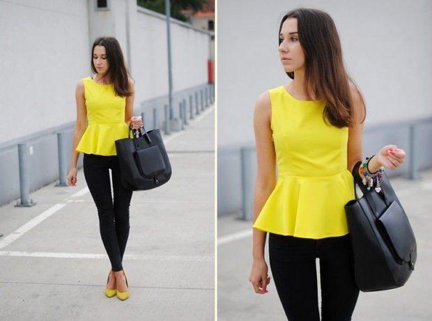 женские блузы: с баской желтая без рукава