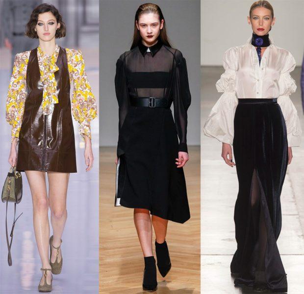 Модные блузки 2018-2019: желтая черная белая с интересными рукавами