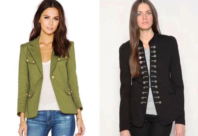 Модные пиджаки осень зима 2018: стиль милитари зеленый черный приталенный