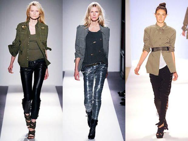 Модный пиджак для осени и зимы 2020-2021: стиль милитари зеленый серый бежевый под пояс