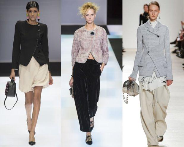 пиджаки осень зима: черный асимметрия светлый короткий серый удлиненный