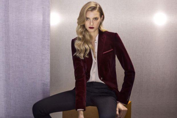 Модные пиджаки осень зима 2019-2020: бархатные бордовый длинный