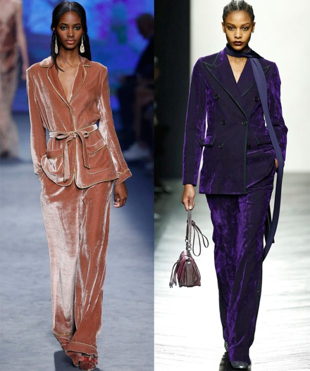 Модные пиджаки осень зима 2019-2020: бархатные светлый под пояс фиолетовый