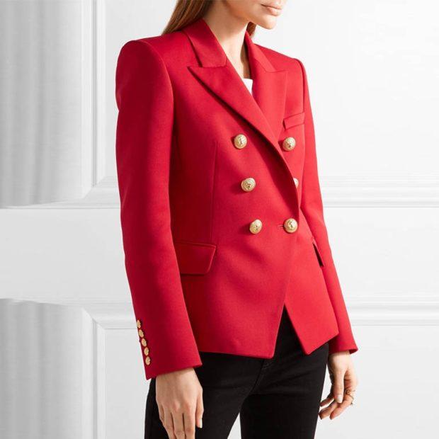 пиджаки осень зима 2019-2020: двубортный красный средняя длина