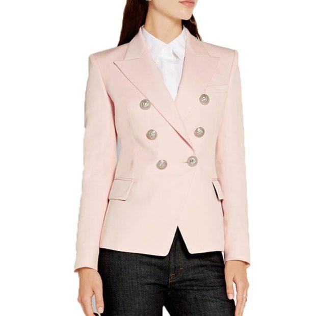 пиджаки осень зима 2019-2020: двубортный розовый классика