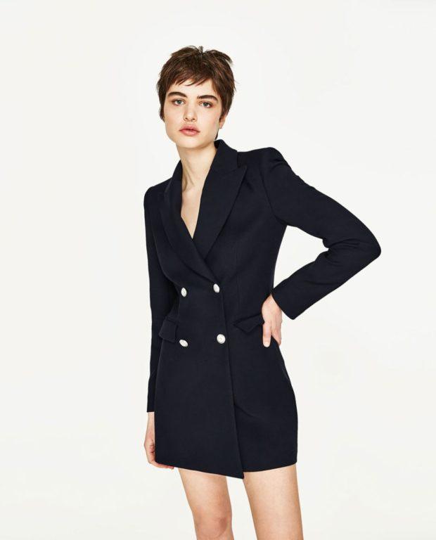 пиджаки осень зима 2019-2020: двубортный черный длинный