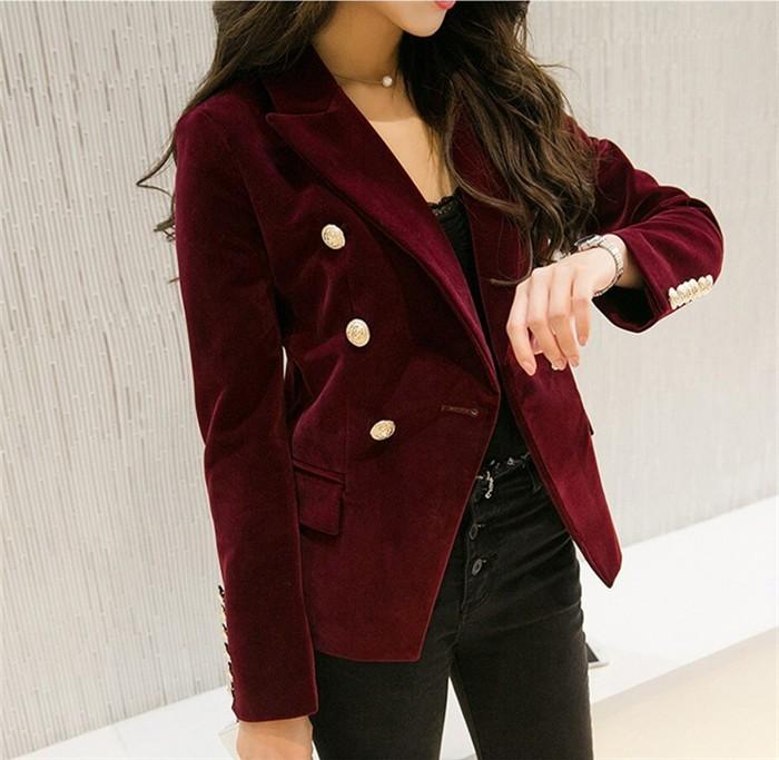 Модные пиджаки осень зима 2018 2019: двубортный бордовый бархат