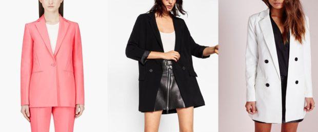 Модные пиджаки осень зима: удлиненный розовый черный белый