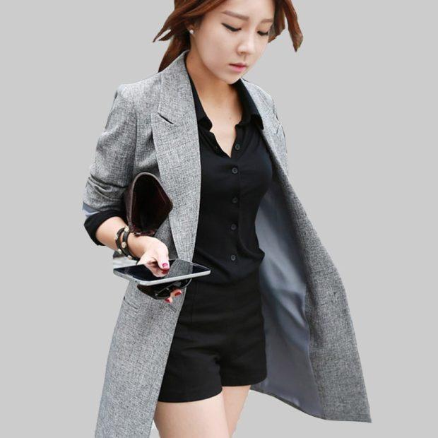 Модные пиджаки осень зима: удлиненный серый